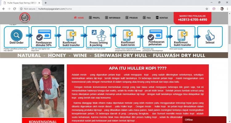 Huller Kopi Pagar Alam, Jasa Pembuatan Website Jogja, Jasa Buat Website Jogja