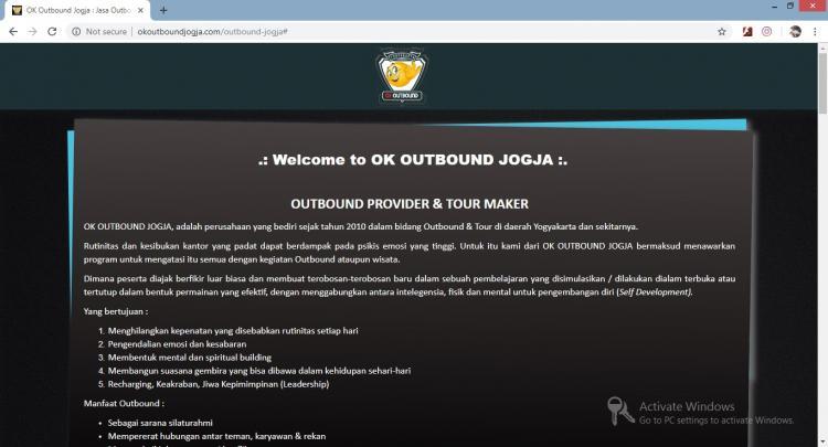 Ok Outbound Jogja, Jasa Pembuatan Website Jogja, Jasa Buat Website Jogja