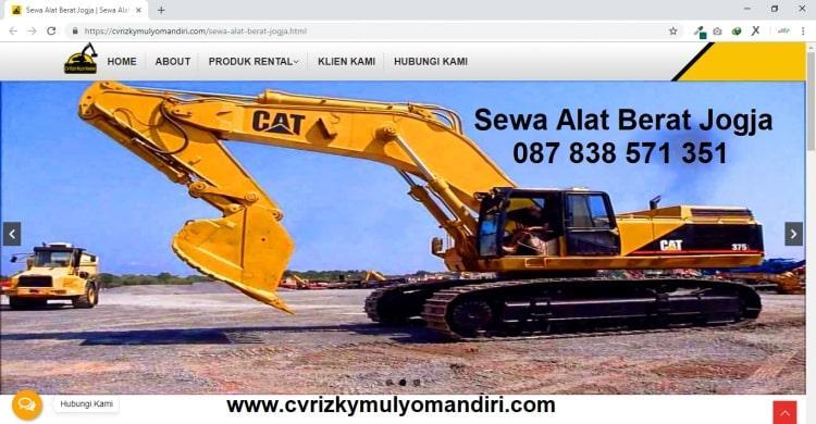 Sewa Alat Berat Jogja : CV Rizky Mulyo Mandiri , Jasa Pembuatan Website Jogja, Jasa Buat Website Jogja