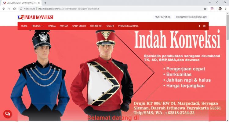 Indah Konveksi, Jasa Pembuatan Website Jogja, Jasa Buat Website Jogja