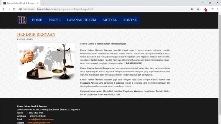 Kantor Hukum Hendrik Renyaan, Jasa Pembuatan Website Jogja, Jasa Buat Website Jogja